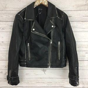 Free People washed leather moto biker jacket black